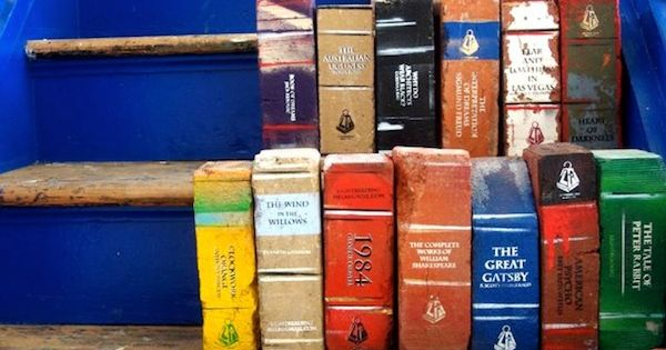 bricks painted like books