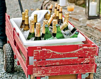 Red wagon as wine cooler