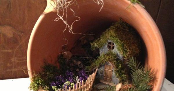Handmade terracotta pot fairy cottage