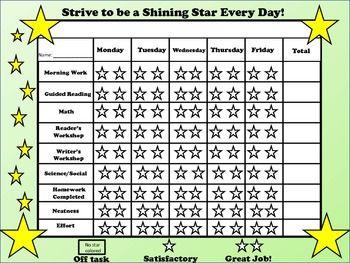 Behavior Chart Freebie Be A Shining Star Behaviour Chart Individual Behavior Chart Behavior Plans