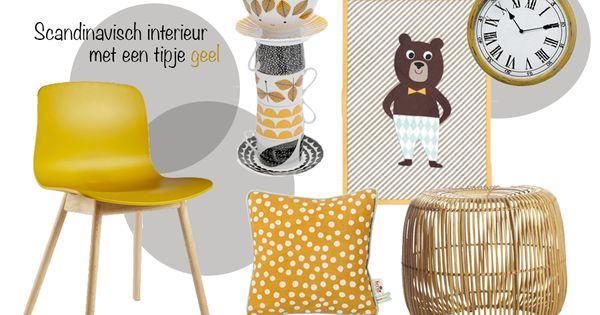 Scandinavisch interieur tipje geel  Woonkamer  Pinterest  Interieur ...