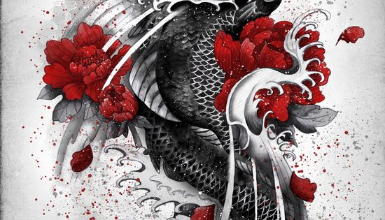 Black koi art print for sale on for for Dragon koi for sale