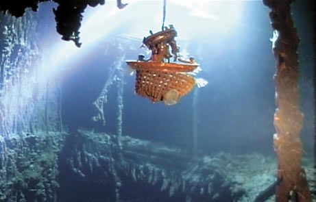 RMS Titanic: A chandelier hangs near where the Grand Staircase once was