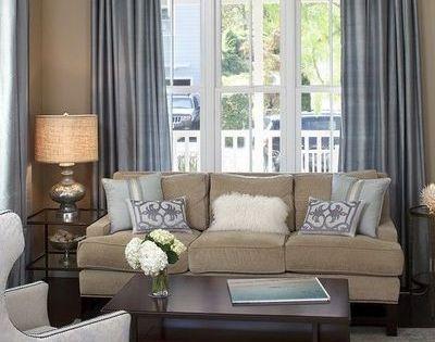 Living Room White Slate Blue Tan And Dark Brown Color Scheme Design Slate Blue Living Room