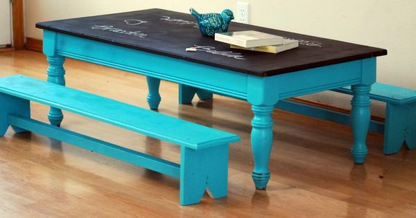 old coffe table -- use chalk board paint and bright colors to