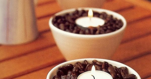 Coffee Beans & Tea Lights: the warmth from the candles makes the