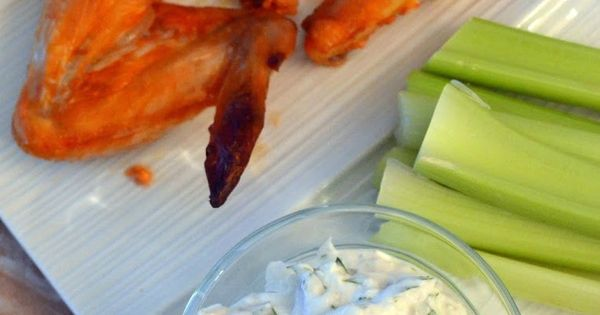 Baked Spicy Greek Yogurt Chicken Wings with Greek Yogurt Bleu Cheese Dressing