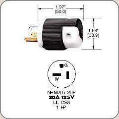 Hubbell Hbl5366c Plug 20 Amp 125v 5 20p Black White Pack Of 10 Black And White Ventilation Fan Plugs