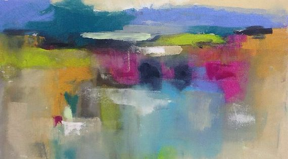 Colorful Abstract Patchwork Landscape Seascape Painting -Color Garden Magenta Accent 24 x
