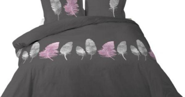 Parure de lit 2 personnes grise design plumes roses et for Housse de couette grise 1 personne