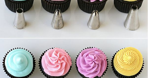 How to frost cupcakes with frosting recipes! Perfect example of how to