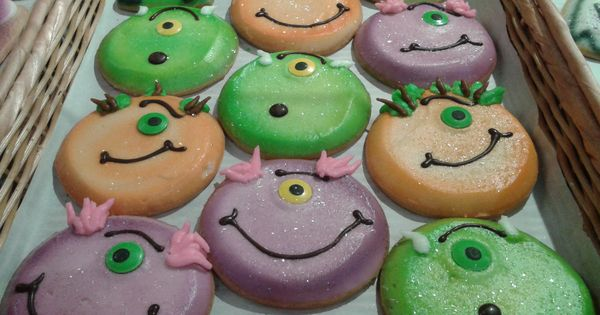 Monster Cookies! Sugar Mold Candy Eyes, Colored Frosting