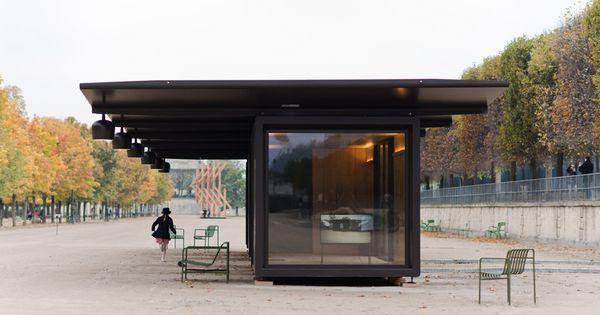 Bouroullecs install kiosque steel pavilions for paris 39 fiac pavilion for Kiosque jardin des tuileries
