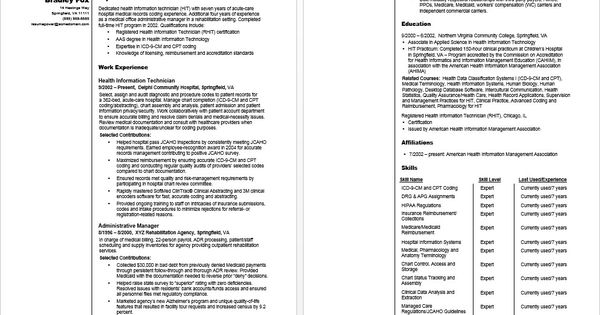 Health Information Technician Sample Resume Health, tyxgb76aj - health information specialist sample resume