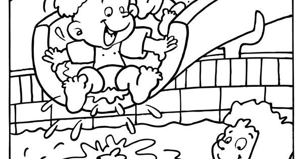 kleurplaat glijbaan in het zwembad vakantie