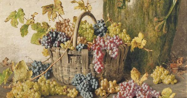 Giorgio Lucchesi A Basket Of Grapes By An Amphor On A