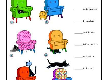 Prepositions The Cat And The Chair Worksheets
