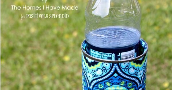 Great idea.... Outdoor drink holders from a decorated tin can.