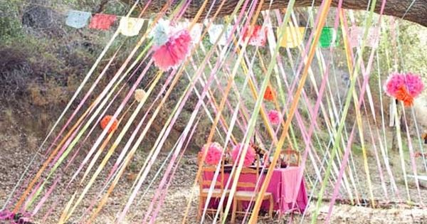 crepe paper tent - easy outdoor party decor