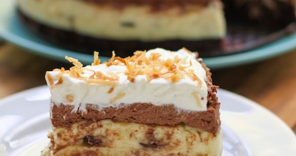 dessert cake recipe - brownie bottom coconut chocolate cream cake