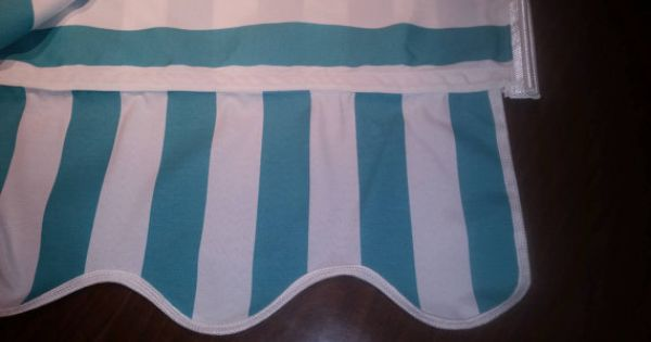 8 8l X 8 W Teal White Stripe Awning Tote And Camping Decor White Stripe Caravan Awnings