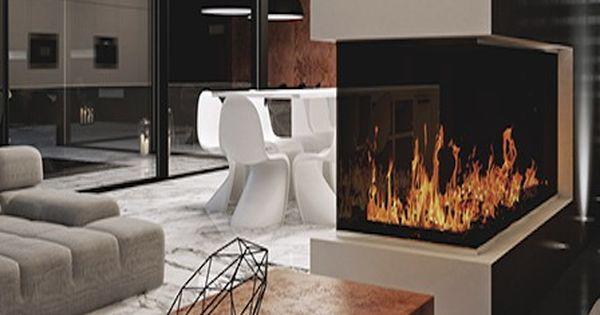 modern fireplace large living room glass wall sliding doors