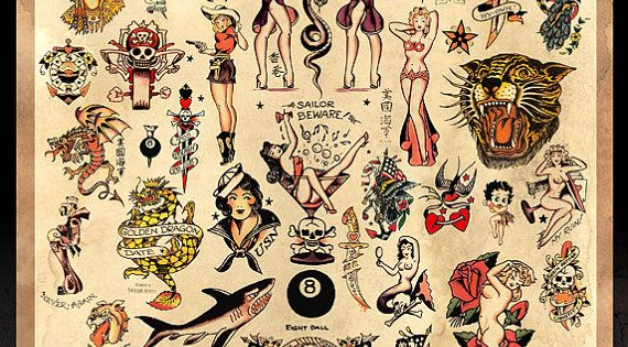 This 24 x 36 poster of a variety of Sailor Jerry Collins