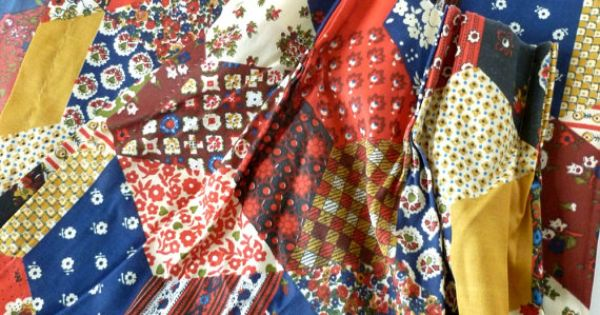 Boho Curtains Calico Patchwork Print Pinch Pleat Drapes