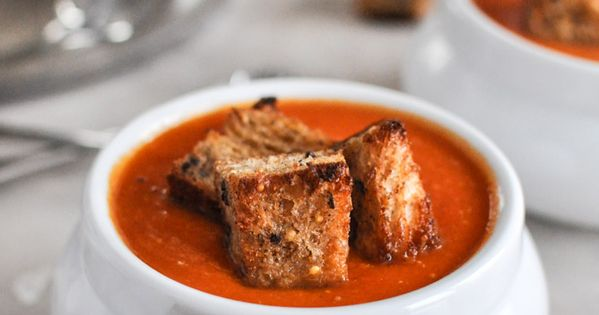 Tomato Soup with Brown Butter Garlic Croutons | Creamy Tomato Soups ...
