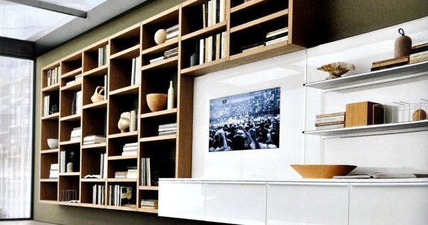biblioth que moderne en bois et meuble t l laqu blanc lmf5 pinterest d cor contemporain. Black Bedroom Furniture Sets. Home Design Ideas
