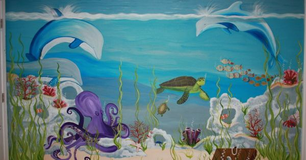 Underwater world wall murals theme under the sea for Underwater mural ideas