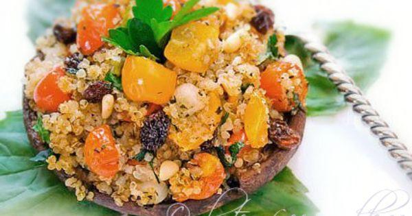 Quinoa Recipe: Stuffed Portobello Mushrooms with Pine Nuts and Raisins GlutenFree DairyFree