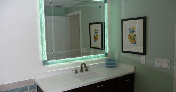 Clearwater beach florida master bathroom vanities side lit glass tile mirror border for Bathroom vanities clearwater fl
