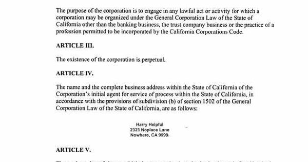 Articles Of Incorporation For A California Corporation Articles