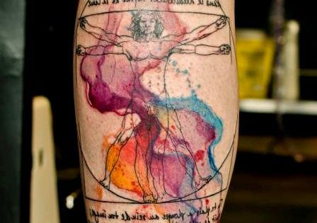 Leonardo Davinci Vitruvian Man Watercolour Tattoo. I love this. 39 People With