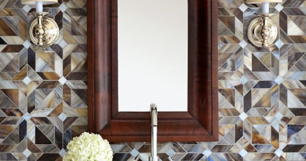 Rubrik, a jewel glass waterjet mosaic shown in Pearl, Schist, and Lavastone, is part ...