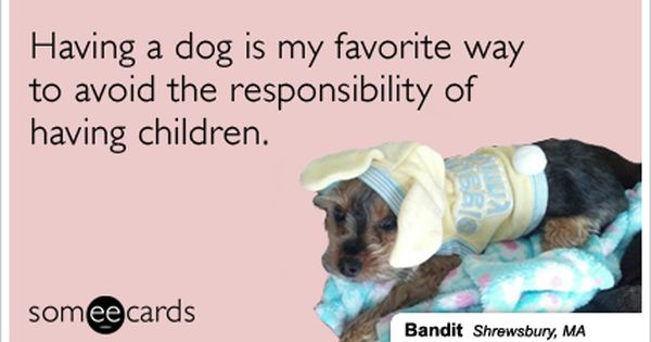 Having A Dog Is My Favorite Way To Avoid The Responsibility Of Having Children Dogs And Kids Dogs Ecards Funny