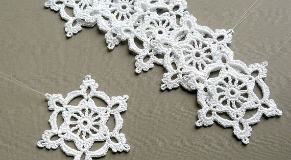 Free Irish Crochet Snowflake Pattern : 6 Crochet Snowflake Ornaments -- Large Snowflake B84, in ...