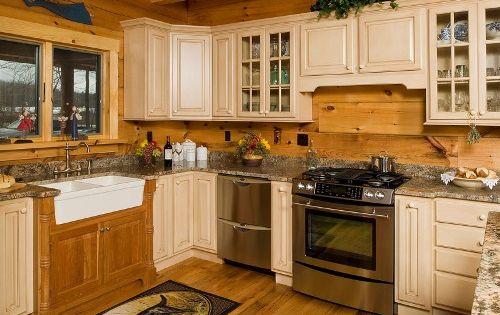 Updated cabin kitchens granite countertops log cabin for Log cabin kitchen countertops