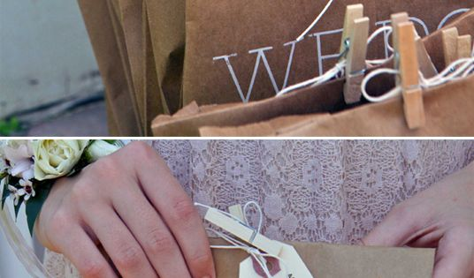 Wedding program printed on brown bags filled with confetti to toss at