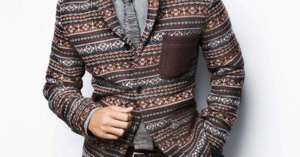 Men's Style -- Fair Isle statement blazer with suede detail pocket.