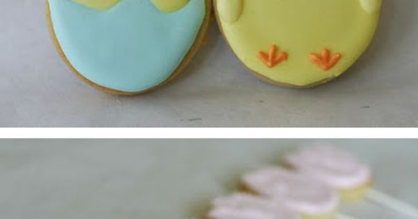 easter biscuits -3 different design cookies with 1 cookie cutter shape! chick,