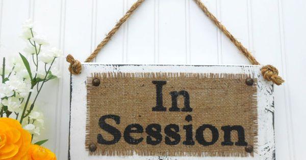 Business sign, In Session, door hook hanging sign, burlap ...