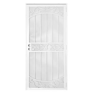 Unique Home Designs 36 In X 80 In La Entrada White Surface Mount Outswing Steel Security Door With Perforated Metal Screen 5sh630white36 Unique House Design Wrought Iron Security Doors Security Door