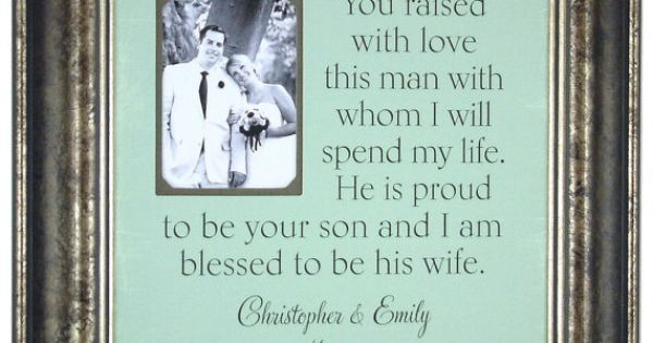 Parents of the Groom Gift Personalized Picture Frame Parents Thank You You