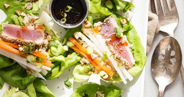 Seared ahi tuna lettuce cups recipe seared ahi for Sashimi dressing