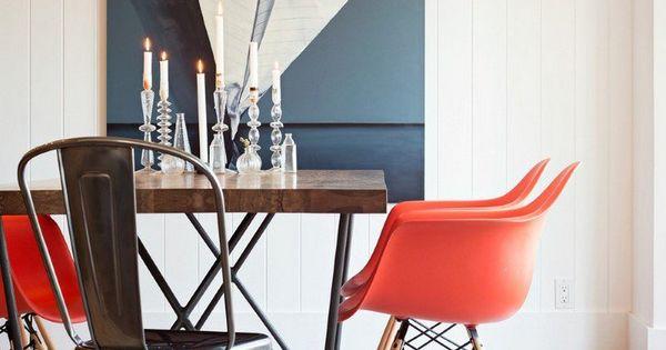 tableau abstrait moderne à motif bateau en papier plié, chaises ...