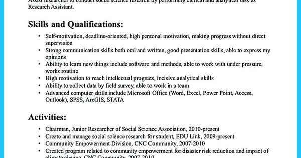 awesome Grabbing Your Chance with an Excellent Assistant Teacher - social science researcher sample resume