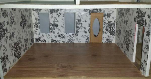 Diy Dollhouse Wallpaper And Flooring On A Budget Self Adhesive Shelf Liner Makes Wonderful Dollhouse Wallpaper And Floor Diy Dollhouse Shelf Liner Glue Crafts