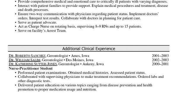 oncology nurse practitioner resume